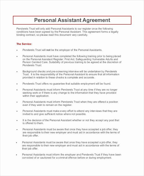 Personal Assistant Agreement Luxury 9 Sample Personal Confidentiality Agreements Agreement Contract Template Virtual Assistant Training