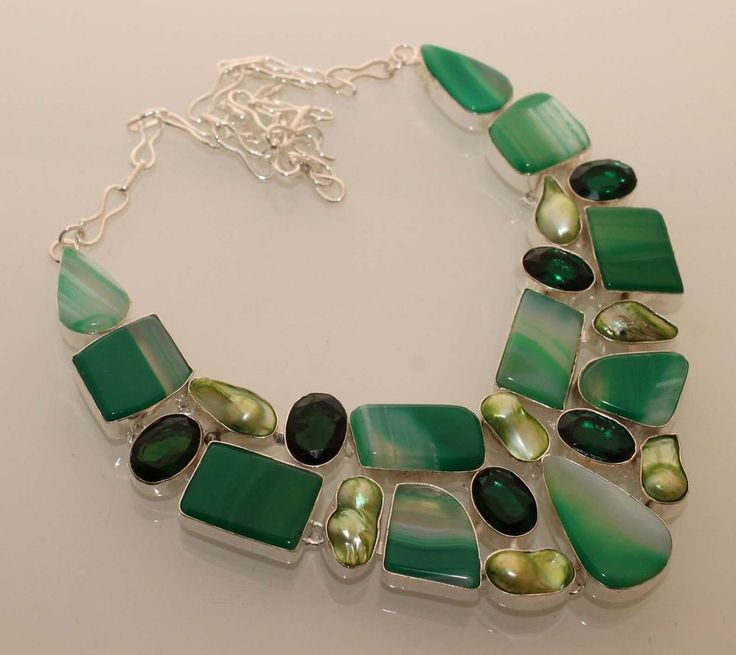 """GREEN LACE AGATE+BIWA PEARL+QUARTZ 925 STERLING SILVER OVERLAY 18"""" NECKLACE N800 #Handmade"""