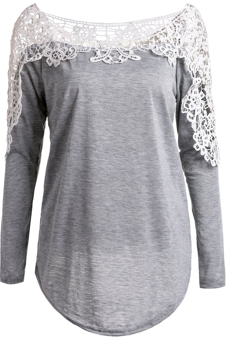 $10.59 Casual Hollow Out Lace Spliced Long Sleeve T-Shirt