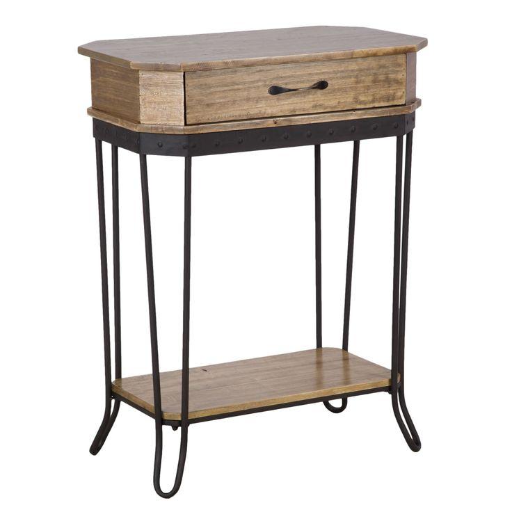 Mobiletto a 1 cassetto e 2 ripianiin legno di betulla e ferrostile vintage industriale.