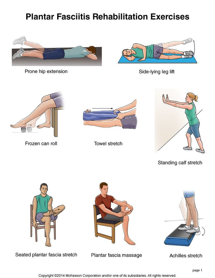 Plantar Fasciitis Rehabilitation exercises.   Prone hip extension.    Side-lying leg lift.  Frozen can roll.  Towel stretch.  Standing caft stretch.  Seated plantar fascia stretch.   Plantar Fascia Message.   Achilles stretch.