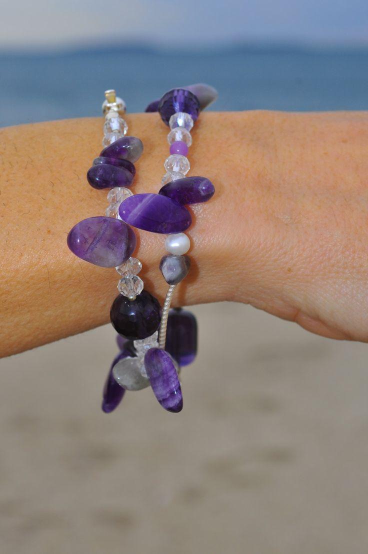 necklace amethyst stones hyaline crystal pearls and silver 925 collana in pietre ametista cristallo ialino perle  e  argento 925 di Oxidex su Etsy