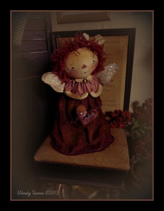 "A PriMiTiVE FoLK ART RAGGeDY ANN ANGEL DoLL 'N HeaRT ~ MaKe Do~ 16"" ~ OOAK #NaivePrimitive #WendyTurner2015"