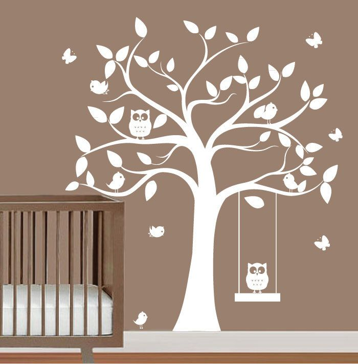 babies nursery tree wall decal - tree silhouette with butterflies,owls & birds - wall sticker vinyl