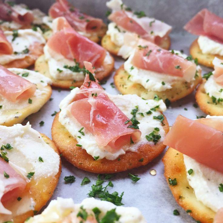 Ricotta and Prosciutto Cracker Appetizer Simona Demeter