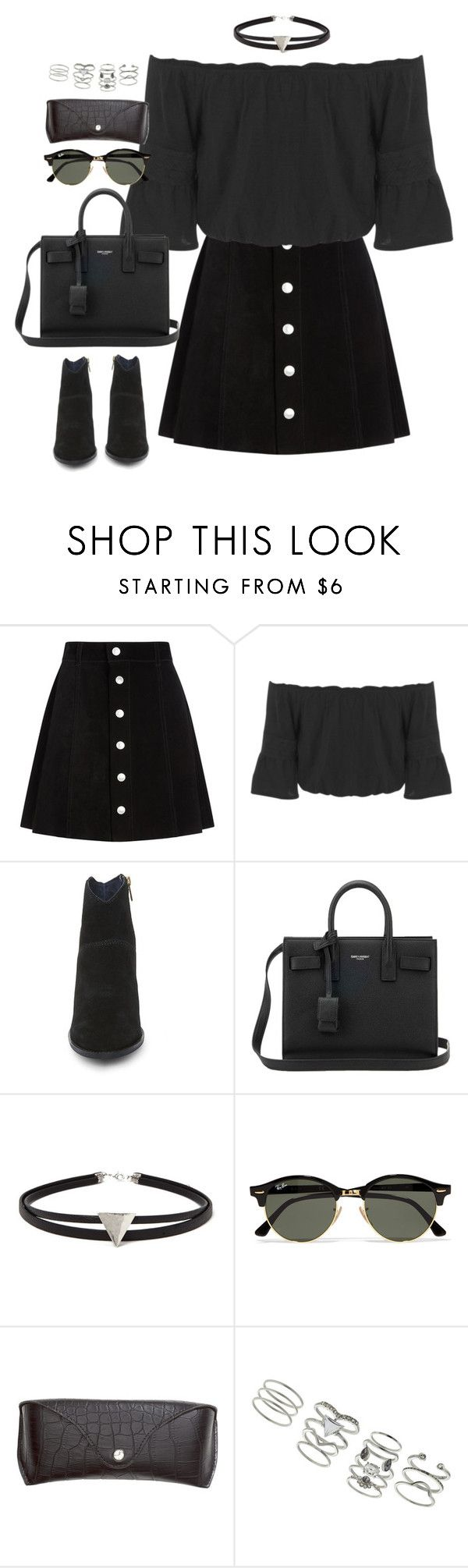 """Untitled#4410"" by fashionnfacts ❤ liked on Polyvore featuring AG Adriano Goldschmied, Miss Selfridge, Steve Madden, Yves Saint Laurent, Forever 21, Ray-Ban and H&M"