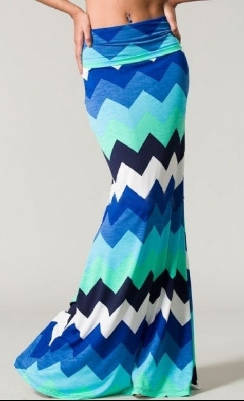 """This chevron maxi is beautifully Younique! Can be worn as a long flowing maxi skirt or as a tube dress. It will definitely become your """"True Blue"""" friend because of its functionality and style!"""