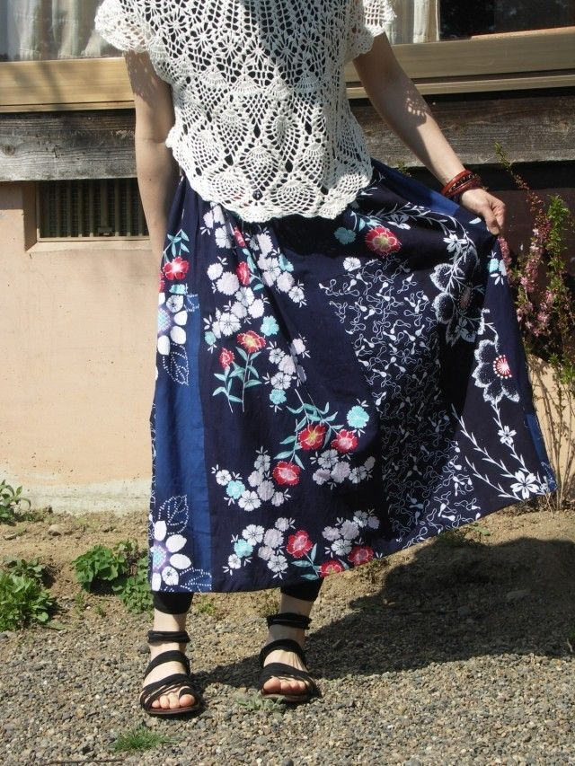 着物リメイク ゆかた ロングギャザースカート