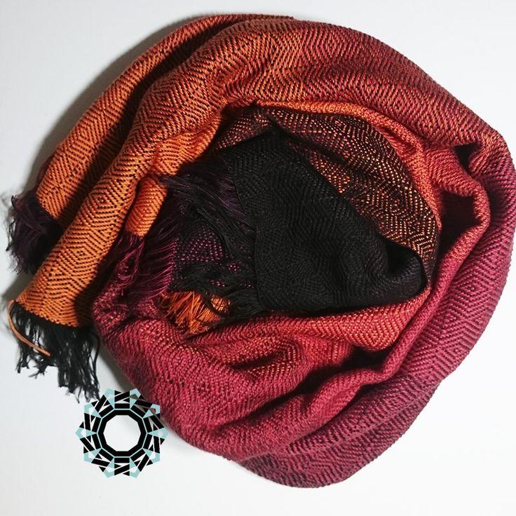 Orange-brown, cotton, big handwoven shawl / Pomarańczowo-brązowy, bawełniany, wielki szal, ręcznie tkany by Tender December, Alina Tyro-Niezgoda More / Wiecej: http://tenderdecember.eu/woven-tkane/painted-with-cotton-malowane-bawelna/ To buy / Aby kupić: http://tenderdecember.eu/shop/produkt/cotton-xxl-shawl-color-orange-red-brown-bawelniany-szal-xxl-w-tonacji-pomaranczy-czerwieni-brazow/