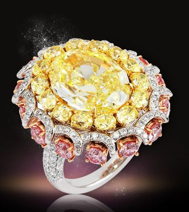 Yellow and Pink Pave Diamond Ring via Sultanesque