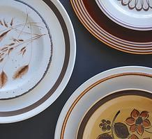 Rustic mid century earthenware plates for hire for weddings and events
