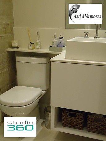 asti-marmores | Banheiros Lavatório e Prateleira em Branco Prime