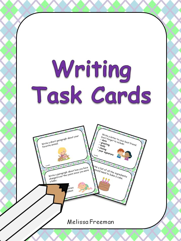 Free!  This is a set of 12 large format (half page each) writing task cards for primary grades. These are great to use in literacy centers or for early finishers.