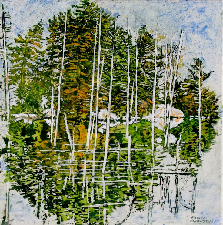 "island / pond reflection  georgian bay  16"" x 16"" micheal zarowsky / mixed media (watercolour / acrylic painted directly on gessoed birch panel)  available $500.00"