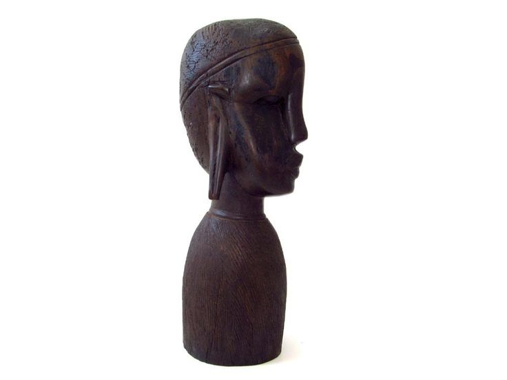 """African Wood Carving Heavy Hardwood Exotic Wood Tribal Hand Carved in Tanzania Africa Wooden Sculpture Female Stretched Ear Lobes Long 9.5"""" by CollectionSelection on Etsy, SOLD"""