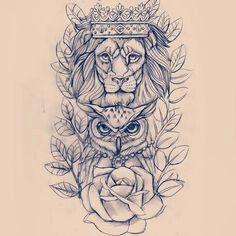 Wenn sich Löwe und Eule nicht gut mit dem Ärmel-Tattoo verbinden, wäre dies ein großartiges Unterarmstück für den anderen Arm