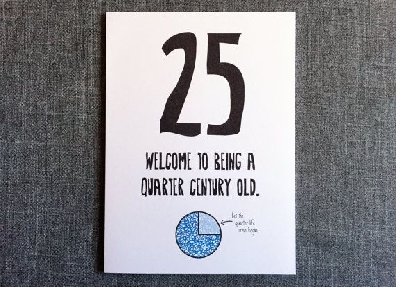 Outside: Welcome to being a quarter century old. (Let the quarter life crisis begin). Inside: Blank  The Facts:  Quantity: 1 Greeting Card +…