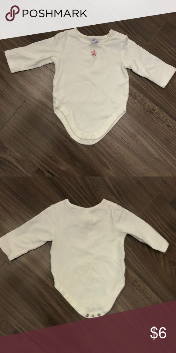 Janie and Jack Long-Sleeve Off white Bodysuit 0-3M Janie and Jack off-white, long-sleeve bodysuit with embroidered floral design in size 0-3M. Item was worn and washed once and is in like new condition. Janie and Jack One Pieces Bodysuits