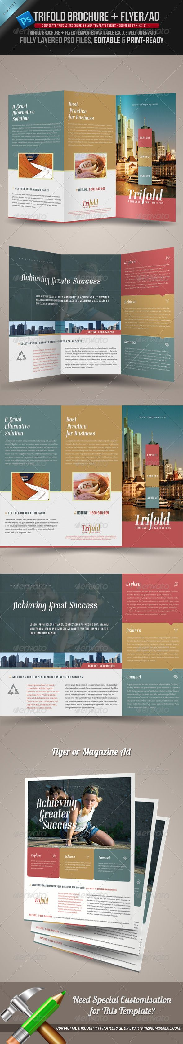 Trifold Brochure + Flyer / Ad Templates -  More info on how to get the template can be found here: http://graphicriver.net/item/trifold-brochure-flyer-ad-templates/823057?r=kinzi21