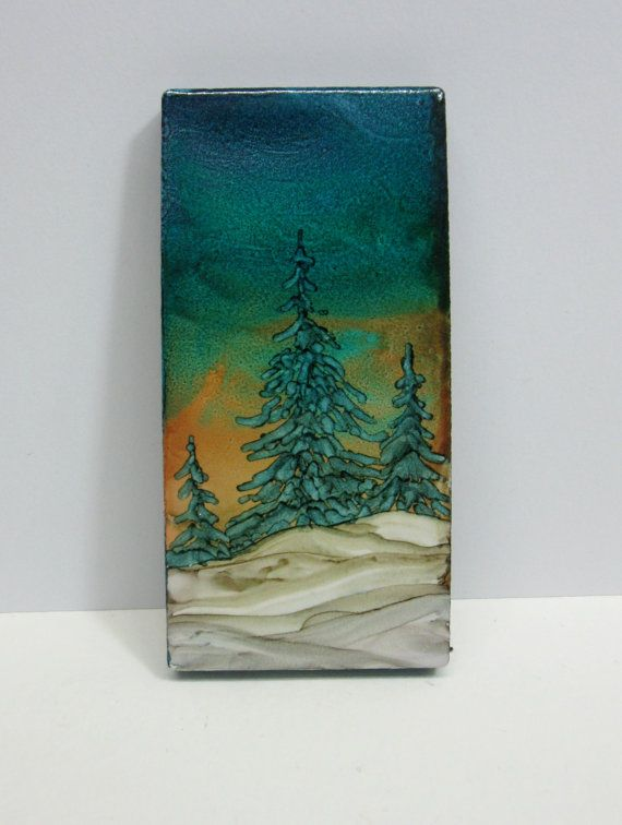Magnet Alcohol Ink art Alcohol inks tile art by ArtworksEclectic