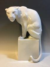 "Augarten Wien Art Deco ""Panther on Pedestal"" Nittany Lion LG Porcelain Figurine"