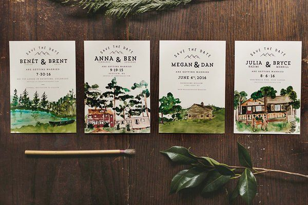 watercolor illustrations of wedding locations on save the dates