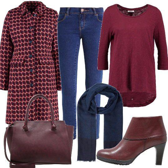 Look+semplice+e+colorato,+jeans+a+vita+bassa+modello+skinny+abbinato+ad+una+maglia+a+manica+lunga+con+scollo+tondo+e+ad+un+cappotto+classico,+in+misto+lana,+leggermente+imbottito,+con+chiusura+a+bottoni.+Ho+scelto+dei+tronchetti+bordeaux+in+pelle,+con+punta+tonda,+tacco+a+rocchetto+e+zip+laterale,+una+borsa+a+mano+con+tracolla+ed+una+sciarpa+blu.