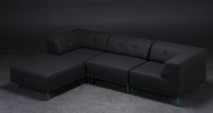 Lot: 2862239 Nomad DOT modulsofa, betrukket with antrazitgråt blanket / uldstof, grønne metalben