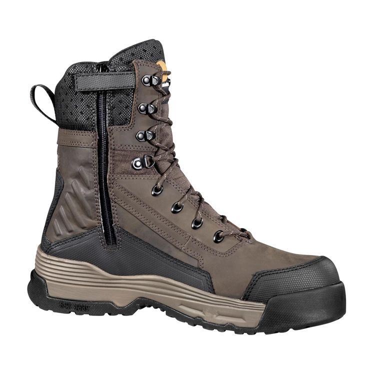 Carhartt Men's 8 Inch Waterproof Insulated Work Boot with Medial Side Zip Composite Toe | Free Shipping