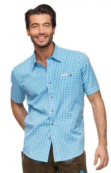 Chequered short sleeve shirt for men Renko2 turquoise