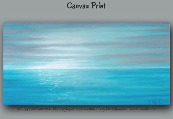 Teal blue & gray home or office decor. Sunrise seascape canvas art print by Denise Cunniff - ArtFromDenise.com. View more info at https://www.etsy.com/listing/204365258