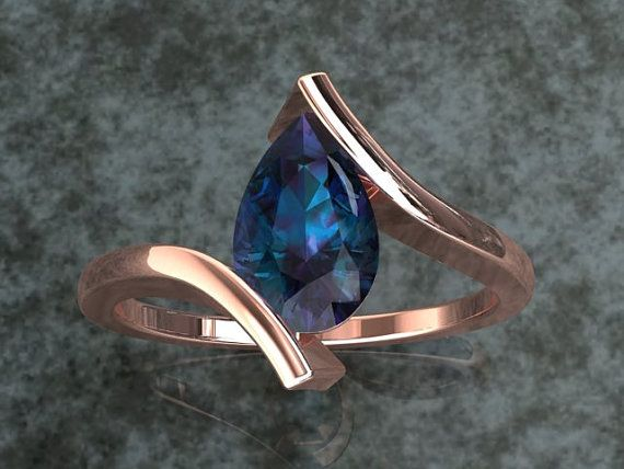 Alexandrite Pear Shape Engagement Ring In Either 14k Rose Gold