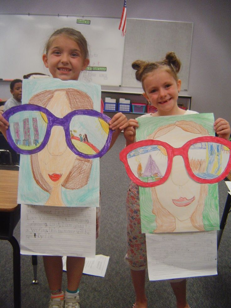 "Cute idea - would be cute when talking about careers - have them draw a picture of what they want to be when they grow up - caption, ""My future is so bright I have to wear sunglasses!"""