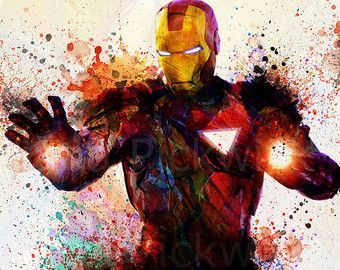 Iron Man paint splatter poster? Yes pls