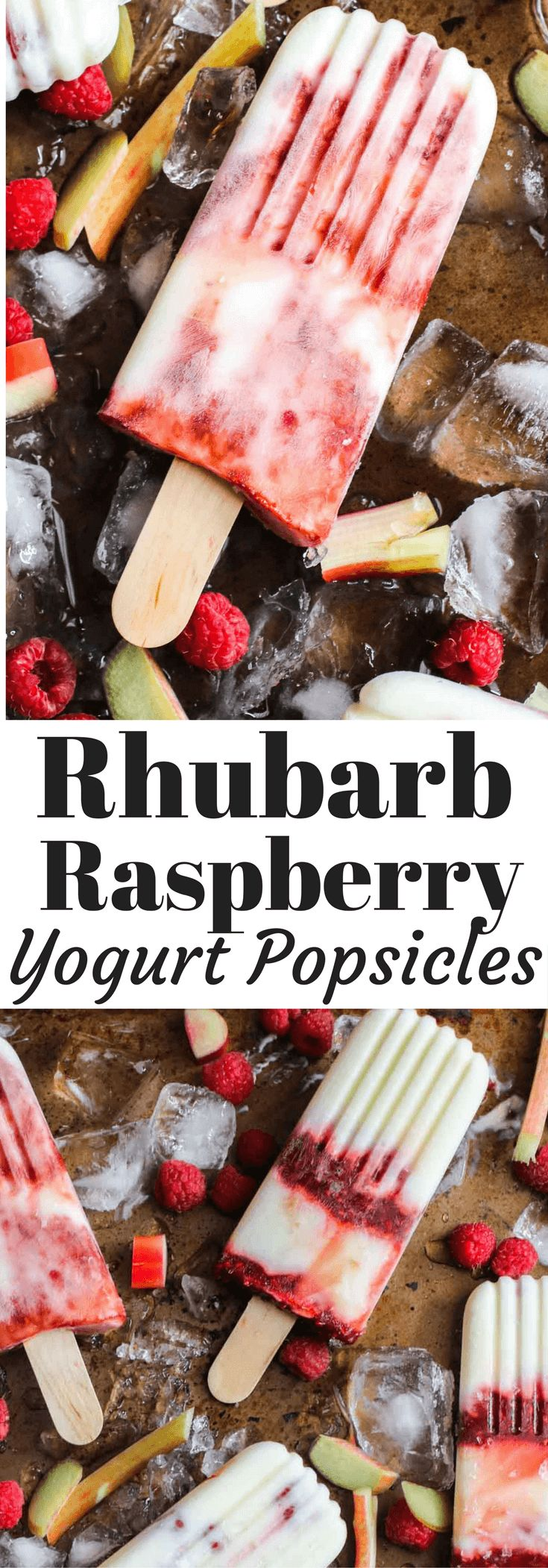 Homemade creamy yogurt popsicles with raspberry rhubarb swirl. A healthy snack or a quick breakfast and only 84 calories! Kid friendly, healthy treat.