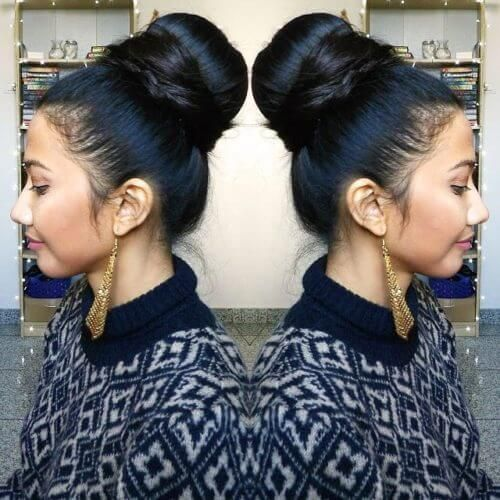 Easy top knot for Indian hair