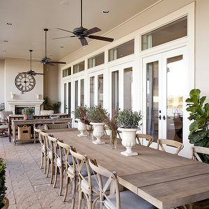 Dodson and Daughter Interior Design - dens/libraries/offices - wall, French doors, transom, windows, wood, planks, outdoor, dining table, French, cafe, chairs, outdoor, fans, covered deck, covered patio,