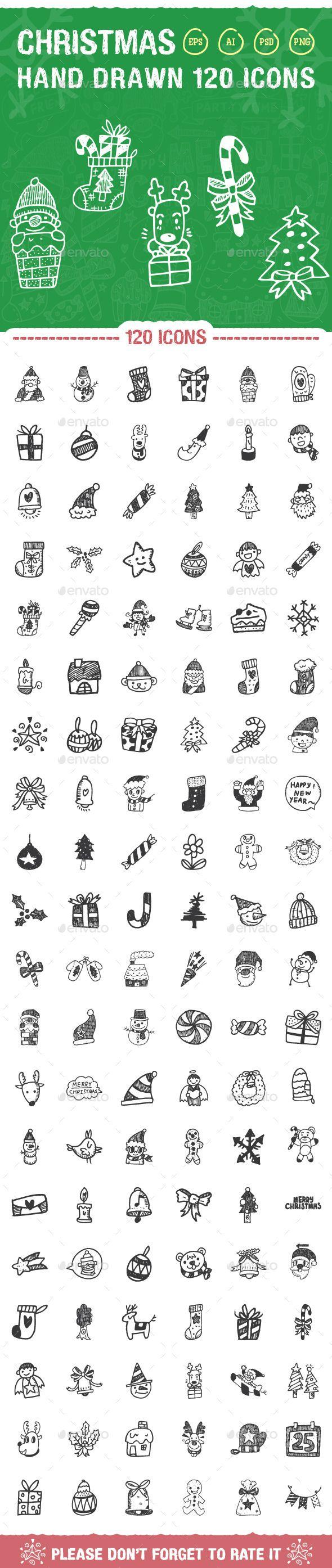 120 Hand Drawn Christmas Icons - Seasonal Icons