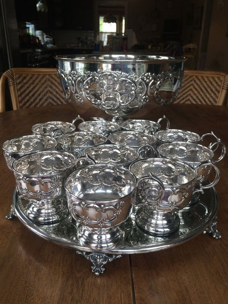 Rococo Victorian Vintage Sheffield England Silver Plate Large Punch Bowl 12 Cups