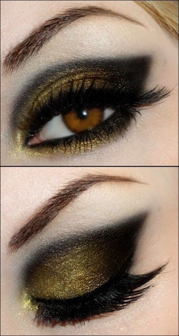 Black and gold eye makeup | Gold eye makeup looks | Black and gold eyeshadow.