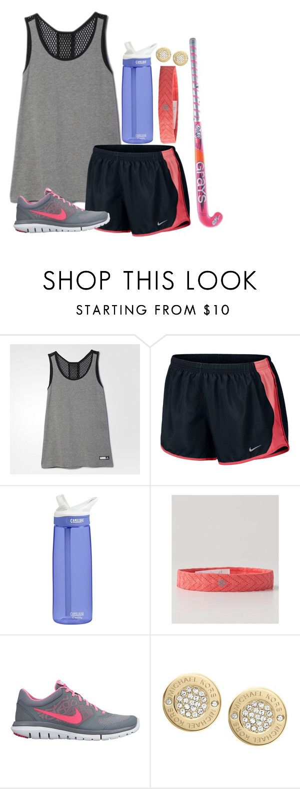 """Had my first field hockey practice today!"" by prep-life-is-good-life ❤ liked on Polyvore featuring adidas, NIKE, CamelBak, lululemon, Michael Kors, women's clothing, women's fashion, women, female and woman"