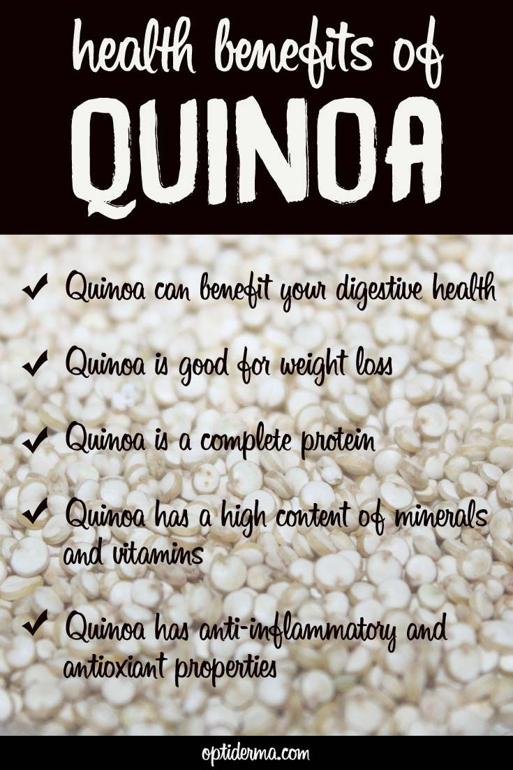 Quinoa is a great food choice for many reasons. High in fiber, it is also a complete protein and contains high quantities of vitamins and minerals. It's also a perfect choice for those who are on a gluten-free diet! Learn more about the health benefits of quinoa: http://www.optiderma.com/articles/quinoa-health-benefits/