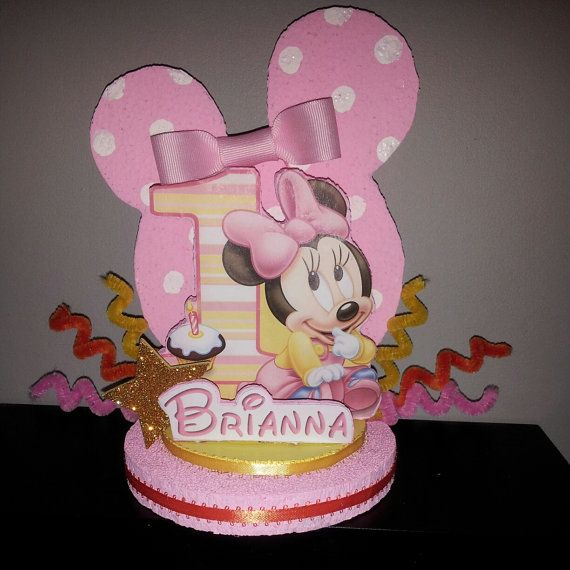 Minnie Mouse 1st Birthday Party Favor Cake Topper by DesignzbyGlo