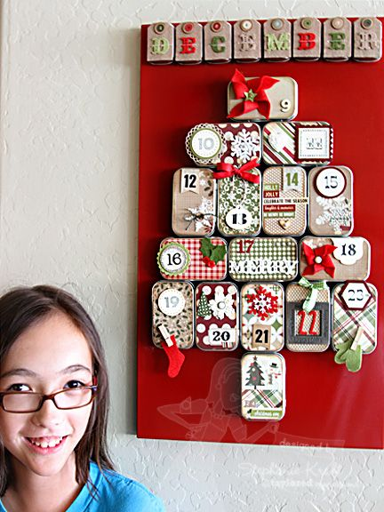 "Advent Calendar - One 14"" x 24"" magnetic board, 24 small metal hinged tins w/magnet strips attached to backs.  (Arrange on board in the shape of a Christmas Tree), decorative paper, embellishments"