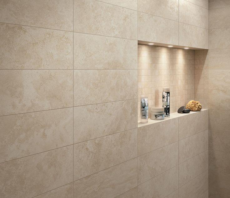 Origin Sand Stone Effect Linear Travertine Ceramic Wall: Mirage Na.me Bone Travertine