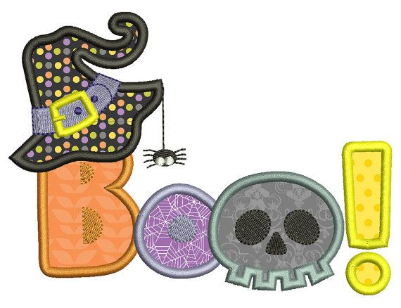 Halloween applique design, BOO! Cute halloween embroidery, 2 sizes on Etsy, $4.00