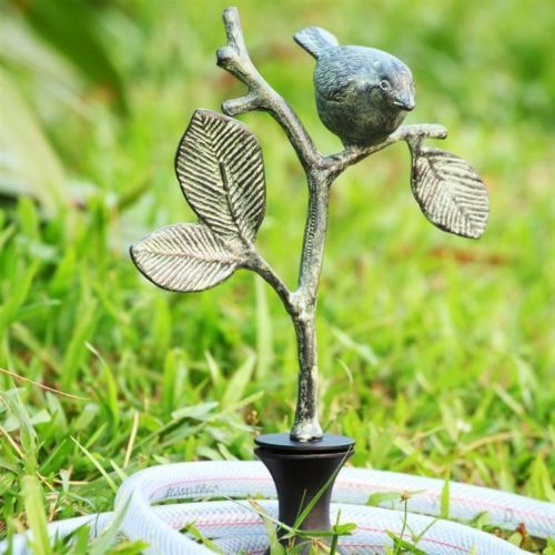 Bird-on-Branch-Hose-Guard-Garden-Metal-Plant-Stake-19H
