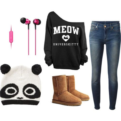 I would not wear the earrings or ear buds or hat...but I would wear the outfit:)