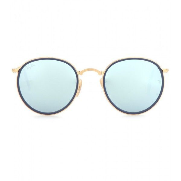 Ray-Ban RB3517 Round Folding Sunglasses ($260) ❤ liked on Polyvore featuring accessories, eyewear, sunglasses, glasses, blue, folding sunglasses, blue round sunglasses, round sunnies, round eyewear and rounded glasses