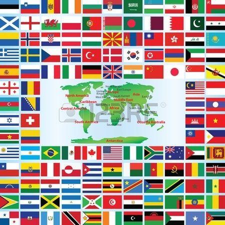 Flaggen der Welt mit Karte Stockfoto